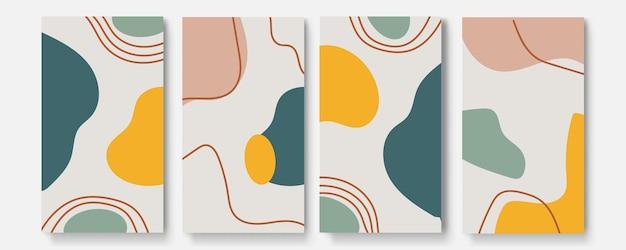 Conjunto de cartazes abstratos universais. cartões de conceito abstrato criativo de abacaxi. cartões abstratos criativos na moda para casamento, aniversário, aniversário, natal, convites de festas, web, impressão