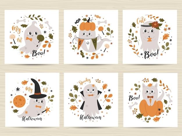 Conjunto de cartazes com fantasmas fofos.