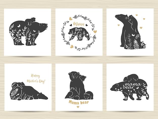 Conjunto de cartazes com mãe ursos e bebês.