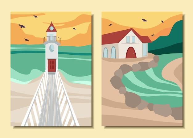 Conjunto de cartazes com uma paisagem. farol, mar, casa.