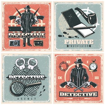 Conjunto de cartazes de agências de detetives