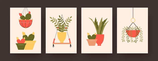 Conjunto de cartazes de arte contemporânea com flores e cactos em vasos. ilustrações vetoriais em pastel de plantas penduradas e envasadas
