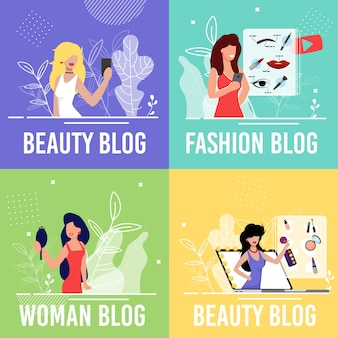 Conjunto de cartazes de beleza moda mulher blog cartoon