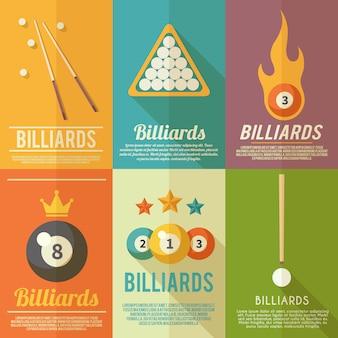 Conjunto de cartazes de bilhar