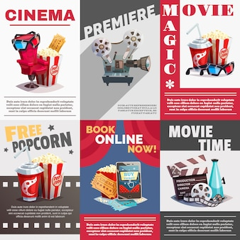 Conjunto de cartazes de cinema com publicidade de estréia