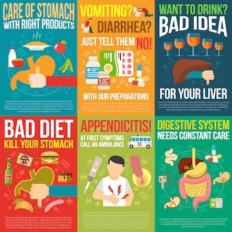 Conjunto de cartazes de digestão