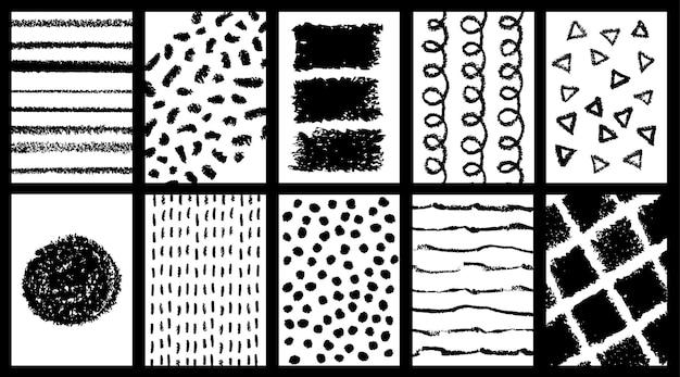 Conjunto de cartazes de doodle grunge