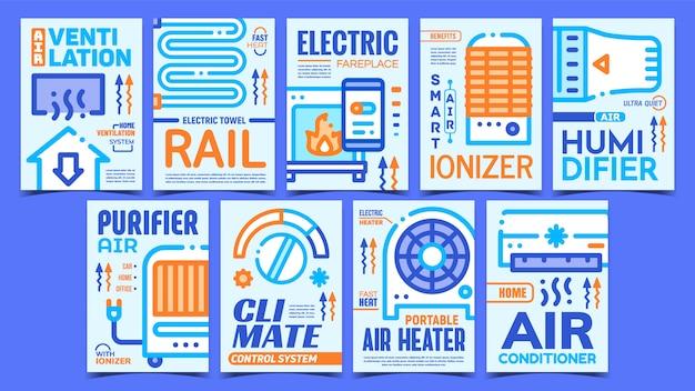 Conjunto de cartazes de equipamentos de aquecimento e refrigeração