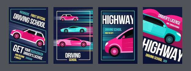 Conjunto de cartazes de escola de condução. carros rápidos em ilustrações de movimentos com texto e quadros.