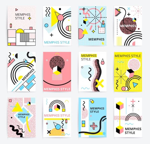 Conjunto de cartazes de estilo memphis