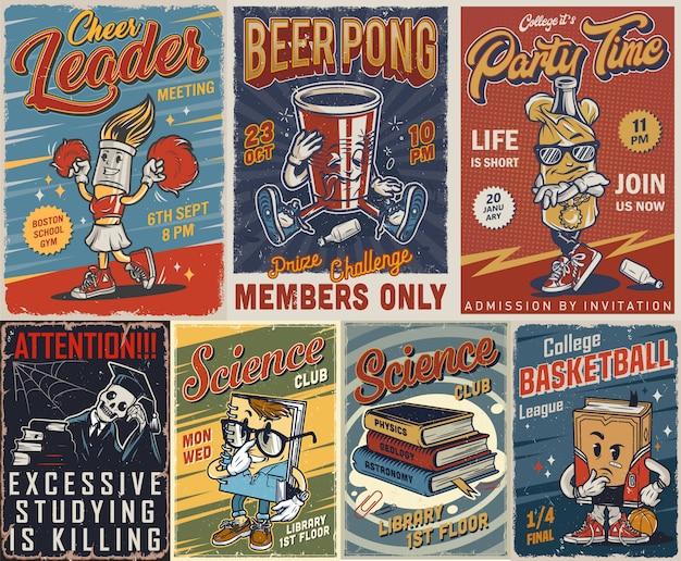 Conjunto de cartazes de faculdade vintage