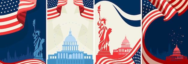 Conjunto de cartazes de feriado público dos eua. modelos de panfleto em design plano.