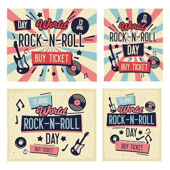 Conjunto de cartazes de festival de rock. dia mundial do rock-n-roll