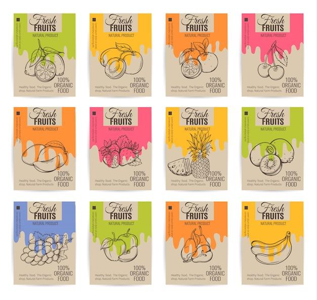 Conjunto de cartazes de frutas mão desenhada.