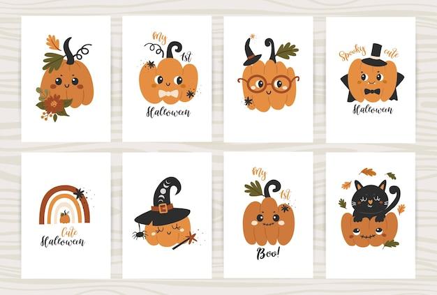 Conjunto de cartazes de halloween com abóboras fofas.