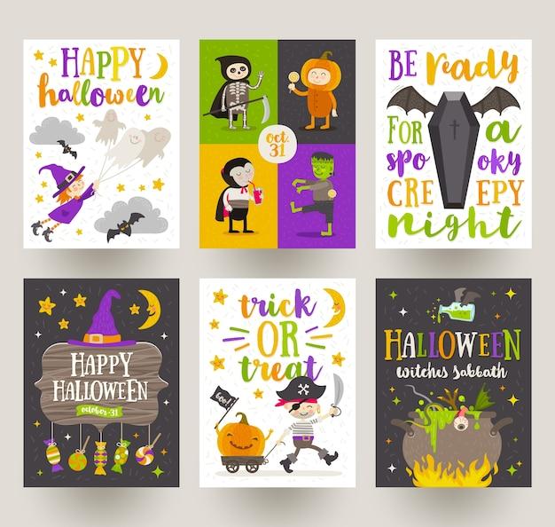 Conjunto de cartazes de halloween ou cartão com personagens de desenhos animados, sinal do feriado, símbolos e design de tipo. ilustração.
