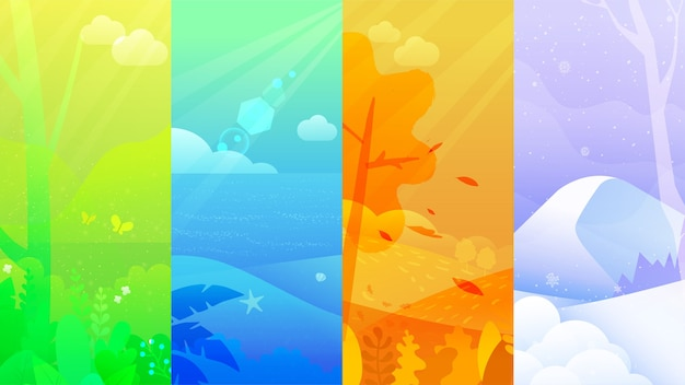Conjunto de cartazes de inverno, primavera, verão e outono.