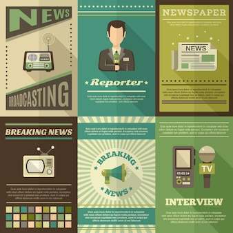 Conjunto de cartazes de jornalistas