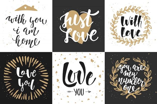 Conjunto de cartazes de letras românticas de vetor