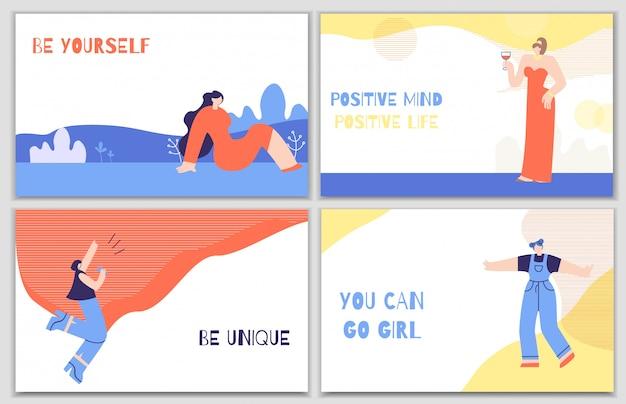 Conjunto de cartazes de motivação de mulher com estímulo diário