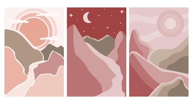 Conjunto de cartazes de paisagem abstrata. paisagem estética de fundo com montanhas