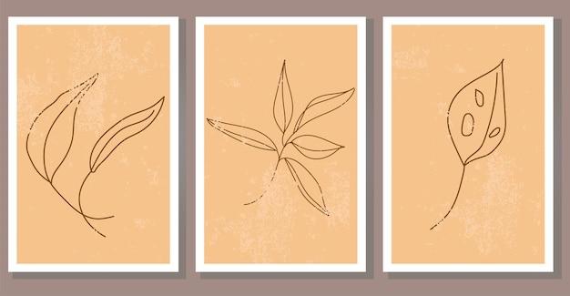 Conjunto de cartazes de plantas boho abstratas modernas arte de parede minimalista contemporânea com folhas exóticas