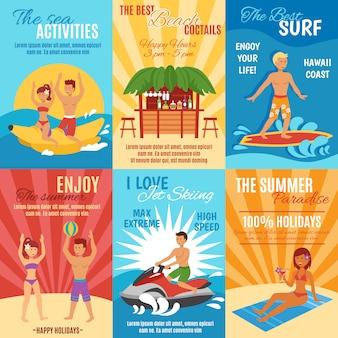 Conjunto de cartazes de praia