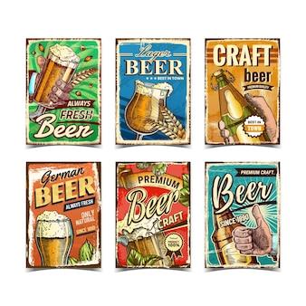 Conjunto de cartazes de propaganda de bebidas alcoólicas de cerveja