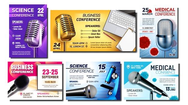 Conjunto de cartazes de publicidade criativa de conferência