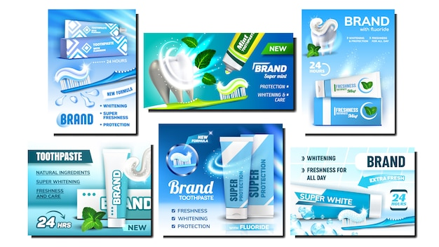 Conjunto de cartazes de publicidade criativa de creme dental