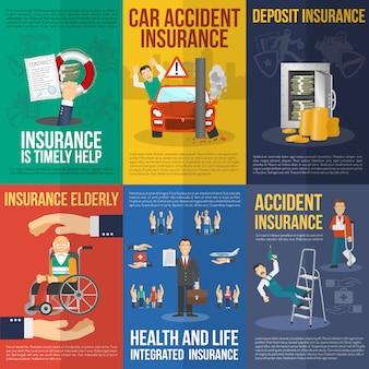 Conjunto de cartazes de seguro