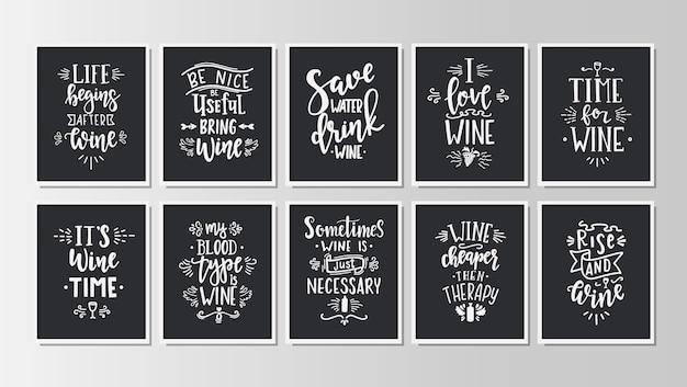 Conjunto de cartazes de tipografia desenhada de mão. frases de letras manuscritas conceituais hora do vinho.