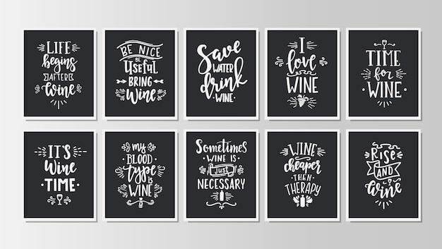 Conjunto de cartazes de tipografia desenhada de mão.