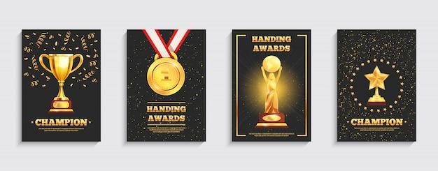 Conjunto de cartazes de troféu de ouro de prêmio
