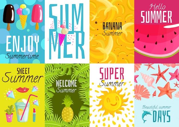 Conjunto de cartazes de verão