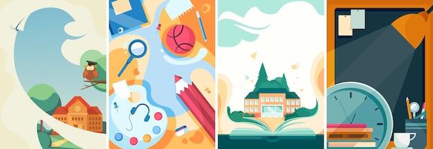 Conjunto de cartazes escolares. modelos de panfleto em designs diferentes.