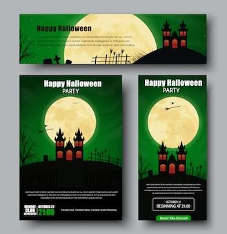 Conjunto de cartazes, folhetos e banners para o halloween
