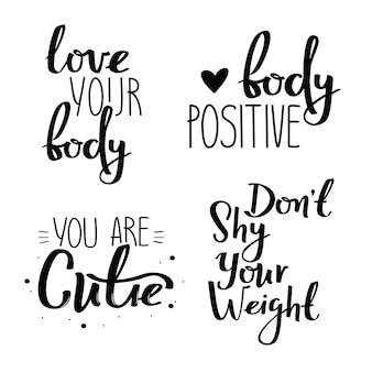 Conjunto de cartazes manuscritos positivos de corpo.