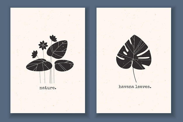 Conjunto de cartazes mínimos com folhas de plantas, flores e monocromático texturizado com elementos abstratos da natureza