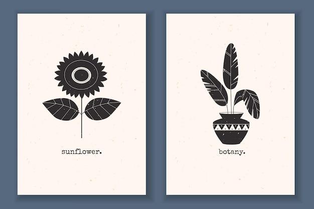 Conjunto de cartazes mínimos com plantas, flores, folhas de girassol e monocromático texturizado com elementos abstratos da natureza
