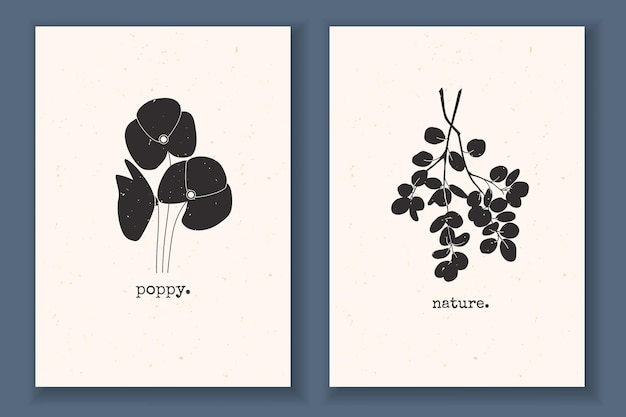 Conjunto de cartazes mínimos com plantas, flores, folhas de ramo de papoula e monocromático texturizado com elementos abstratos da natureza