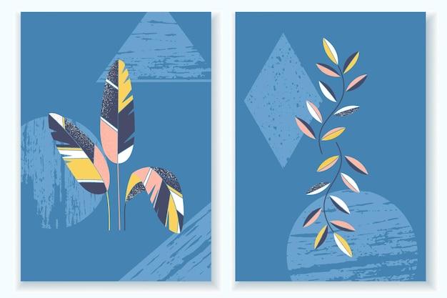 Conjunto de cartazes mínimos com plantas, folhas e plano de fundo texturizado. monocromático com elementos abstratos da natureza. excelente design para redes sociais, seu logotipo, cartões postais e para impressão.