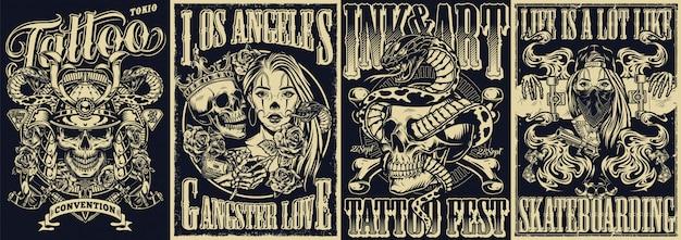 Conjunto de cartazes monocromáticos de tatuagem vintage