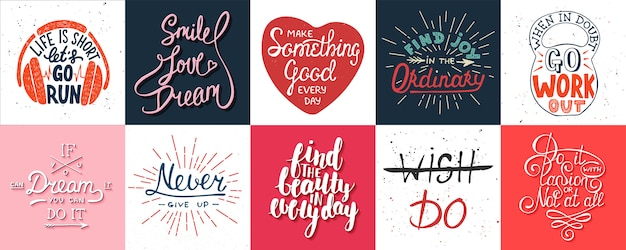 Conjunto de cartazes motivacionais letras