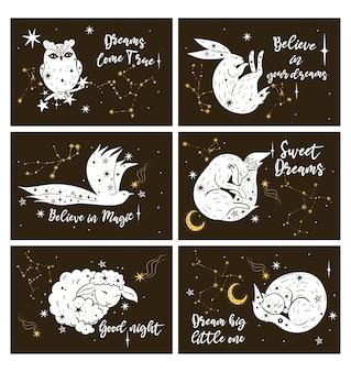 Conjunto de cartazes ou cartões com animais estrelas e letras.