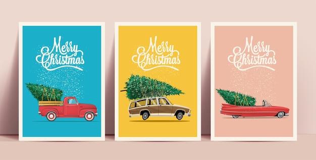 Conjunto de cartazes ou cartões de natal com carros retrô dos desenhos animados com árvore de natal a bordo e letras de feliz natal em fundos coloridos