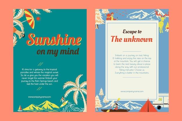 Conjunto de cartazes para acampamento de férias e modelo de viagem de fuga