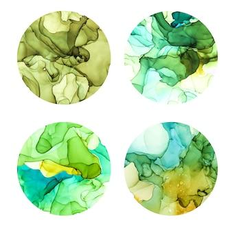 Conjunto de cartazes redondos, molhado fundo aquarela, tons de verde, mão desenhada textura vector