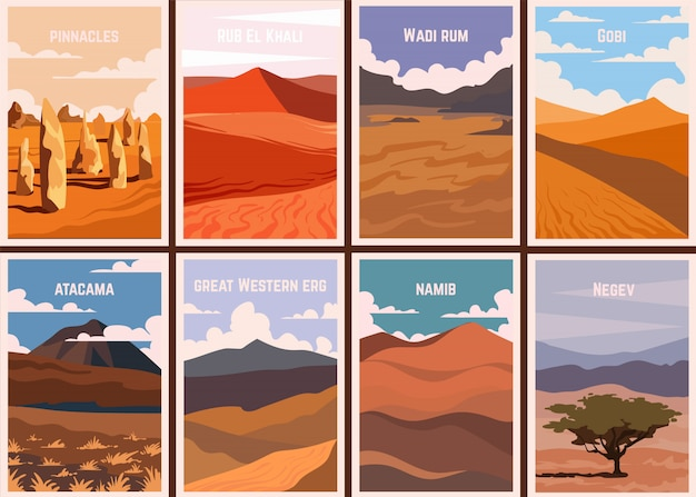 Conjunto de cartazes retrô famosos desertos do mundo.