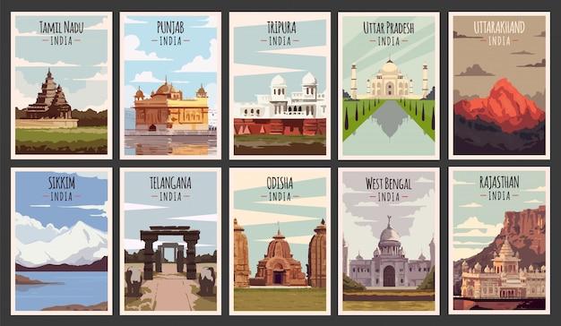 Conjunto de cartazes retrô. ilustração dos estados da índia.